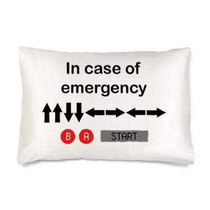 Silk Pillow Case - In Case of Emergency - Use Cheat Code 2 (Black Text)