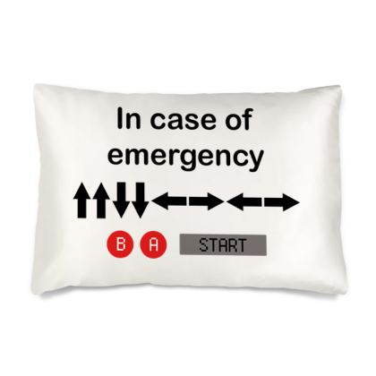 Silk Pillow Cases Sizes - In Case of Emergency - Use Cheat Code 2 (Black Text)