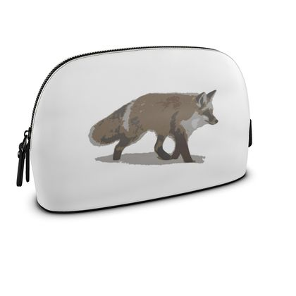 Large Premium Nappa Make Up Bag - Lonely Fox In The Snow