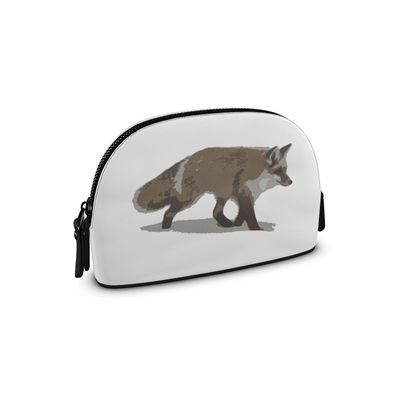 Small Premium Nappa Make Up Bag - Lonely Fox In The Snow