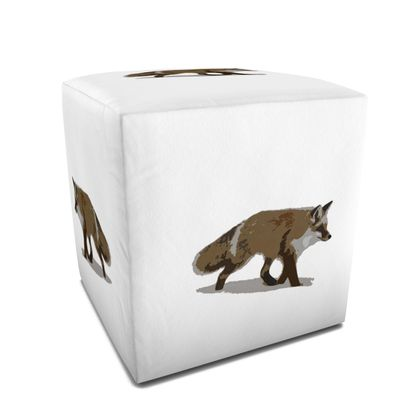 Square Pouffe - Lonely Fox In The Snow