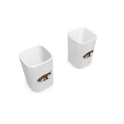 Square Shot Glass 2 Set - Lonely Fox In The Snow