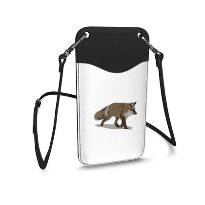 Leather Phone Case With Strap - Lonely Fox In The Snow