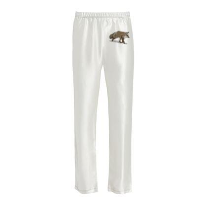 Ladies Silk Pyjama Bottoms - Lonely Fox In The Snow