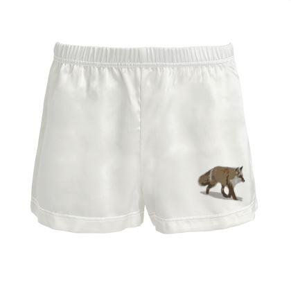 Ladies Silk Pyjama Shorts - Lonely Fox In The Snow