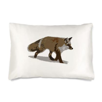 Silk Pillow Case - Lonely Fox In The Snow