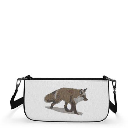 Medium Zip Box Bag - Lonely Fox In The Snow