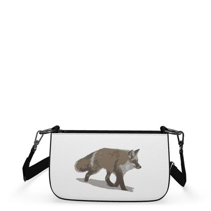 Small Zip Box Bag - Lonely Fox In The Snow