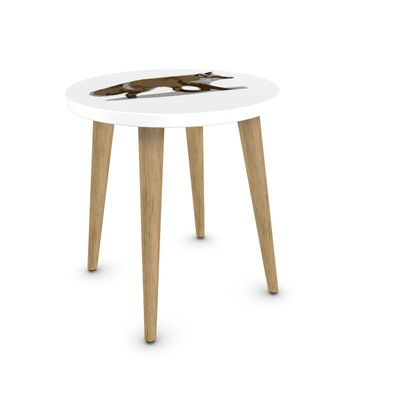Round Side Table - Lonely Fox In The Snow