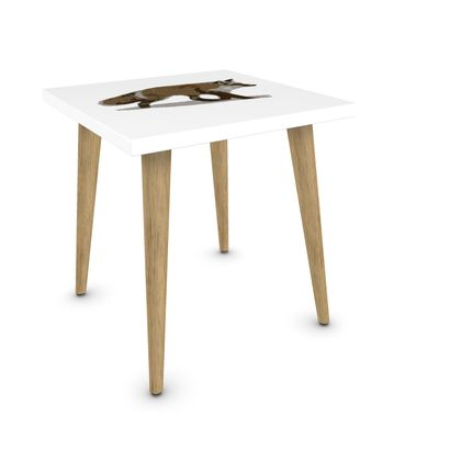 Square Side Table - Lonely Fox In The Snow