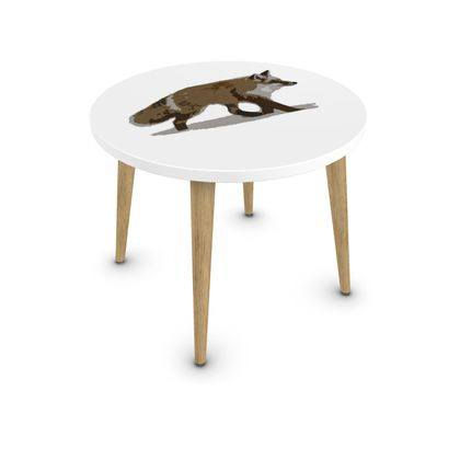 Round Coffee Table - Lonely Fox In The Snow