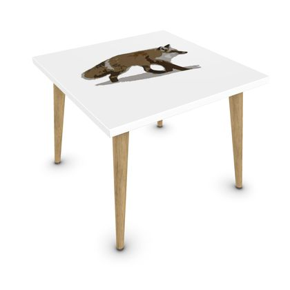 Square Coffee Table - Lonely Fox In The Snow