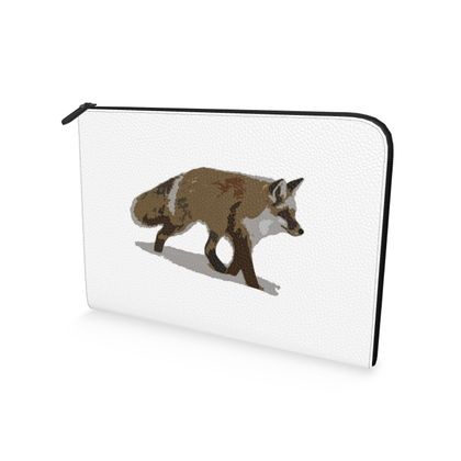 Leather Document Case - Lonely Fox In The Snow