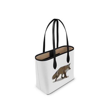 Narrow Leather Shopper Bag - Lonely Fox In The Snow