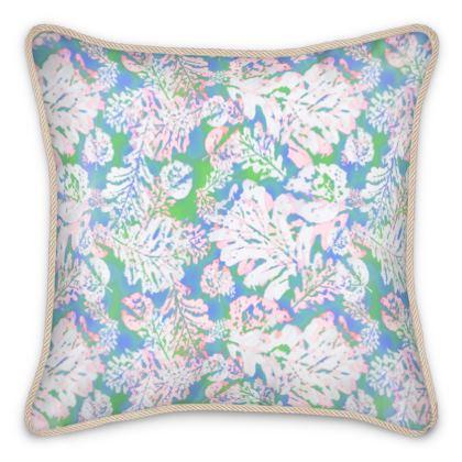 Silk Cushions Blue, White, Leaf  Oaks  Tumnus