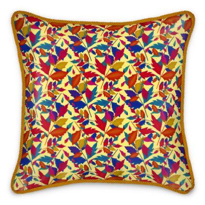 Silk Cushions, Orange, Turquoise, Leaf  Diamond Leaves  Cracker