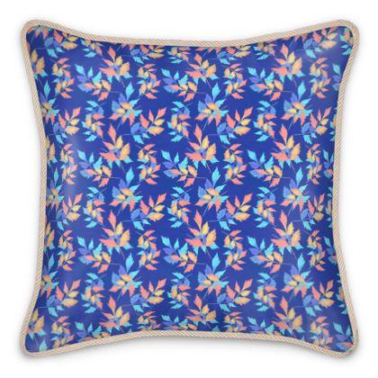 Silk Cushion, Blue, Orange, Leaf,  Slipstream  Almost Winter