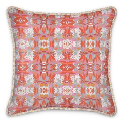 Silk Cushion, Orange, White, Flower  Jasmine  Warm Spice
