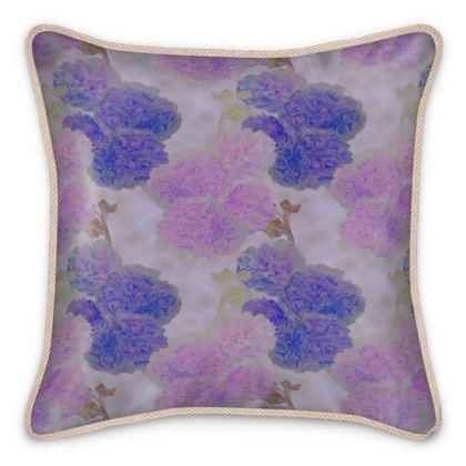 Silk Cushions, Blue, Mauve, Flower  Hollyhocks  Currant Bun
