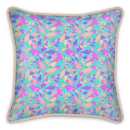 Silk Cushions, Turquoise, Mauve, Leaf,  Cathedral Leaves  Turquoise Sea