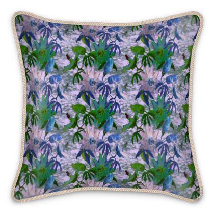 Silk Cushions, Mauve, Turquoise, Flower  Passionflower,  Tuscany