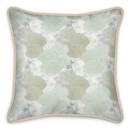 Silk Cushions, Apricot, Aqua, Flower  Hollyhocks  Snow Drift