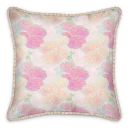Silk Cushions, Pink, Peach, Flower,  Hollyhocks  Sweet Flummery
