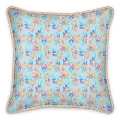 Silk Cushions, Blue, Orange, Leaf  Slipstream, Morning Swallow