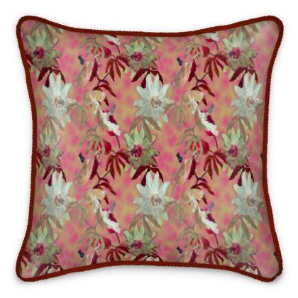 Silk Cushions, Cinnamon, white, Flower  Passionflower  Alto