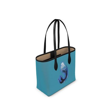 Narrow Leather Shopper Bag - Magical Mermaid