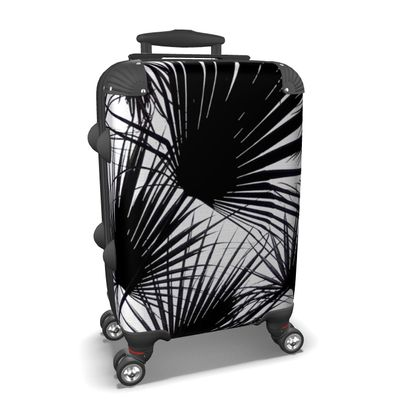 BLACK AND WHITE TROPICAL LEAVES - Suitcase