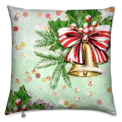 Merry Christmas! - Cushions - red green glitter decor tree, celebration, holiday gift