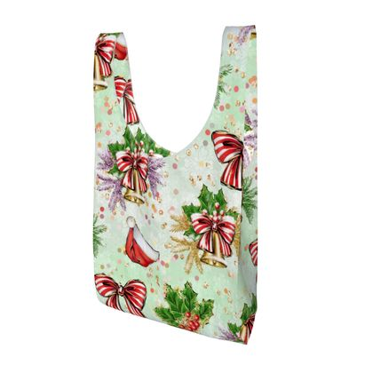 Merry Christmas! - Parachute Shopping Bag - red green glitter decor tree, celebration, holiday gift