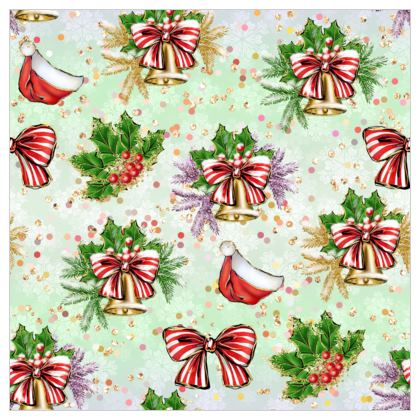 Merry Christmas! - Fabric Printing - red green glitter decor tree, celebration, holiday gift