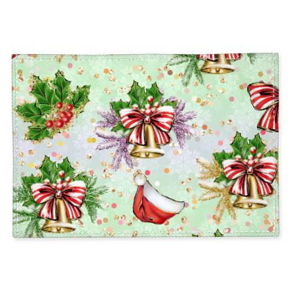 Merry Christmas! - Fabric Placemats - red green glitter decor tree, celebration, holiday gift