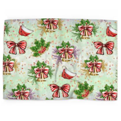 Merry Christmas! - Tea Towels - red green glitter decor tree, celebration, holiday gift
