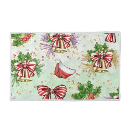 Merry Christmas! - Towel Set - red green glitter decor tree, celebration, holiday gift