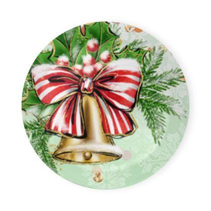 Merry Christmas! - Round Coaster Trays - red green glitter decor tree, celebration, holiday gift