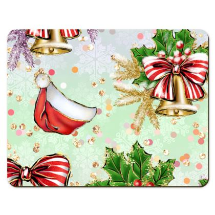 Merry Christmas! - Placemats - red green glitter decor tree, celebration, holiday gift