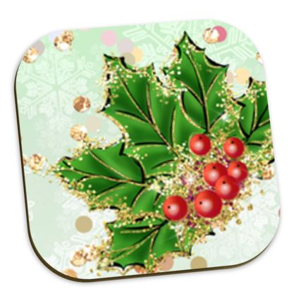 Merry Christmas! - Coasters - red green glitter decor tree, celebration, holiday gift