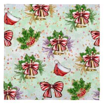 Merry Christmas! - Napkins - red green glitter decor tree, celebration, holiday gift