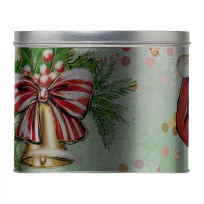 Merry Christmas! - Round Tin- red green glitter decor tree, celebration, holiday gift