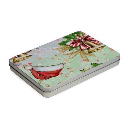 Merry Christmas! - Tin Box Hinge Lid - red green glitter decor tree, celebration, holiday gift