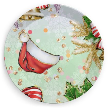 Merry Christmas! - Party Plates - red green glitter decor tree, celebration, holiday gift