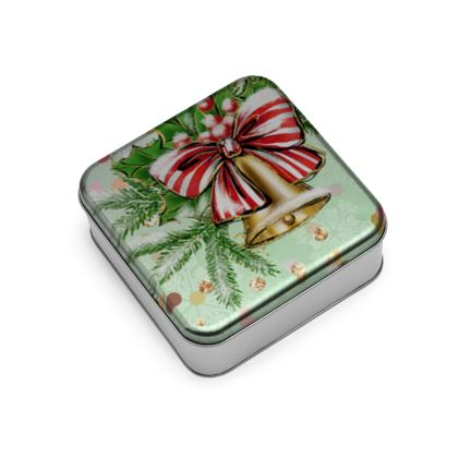 Merry Christmas! - Wrap Lid Tins - red green glitter decor tree, celebration, holiday gift