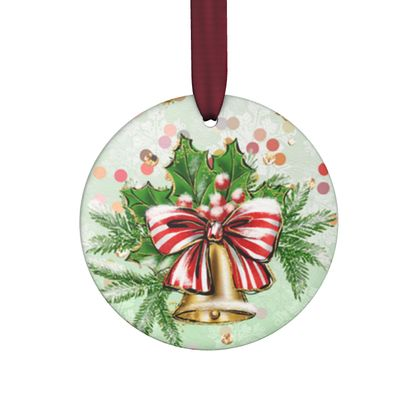 Merry Christmas! - Hand Made Flat Ornaments - red green glitter decor tree, celebration, holiday gift