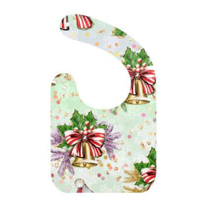 Merry Christmas! - Baby Bibs - red green glitter decor tree, celebration, holiday gift