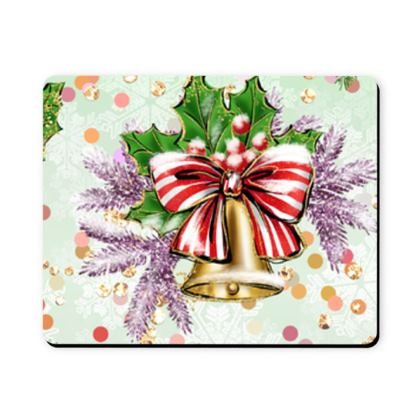 Merry Christmas! - Mousepad - red green glitter decor tree, celebration, holiday gift