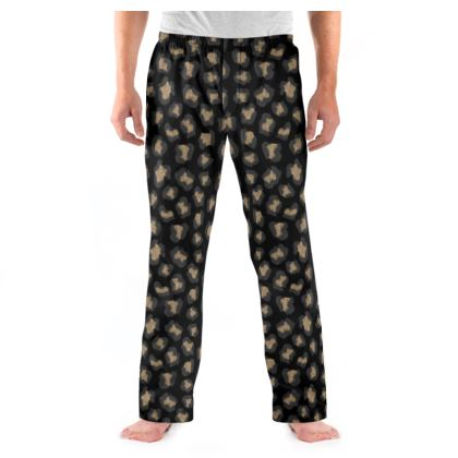 Leopard Print Black Mens Pyjama Bottoms