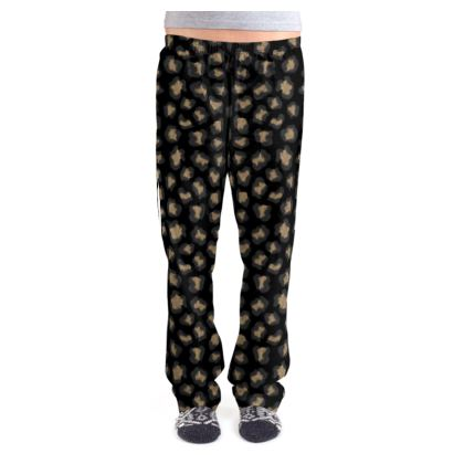 Leopard Print Black Ladies Pyjama Bottoms